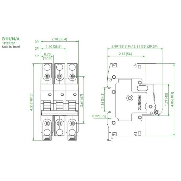 noark ul489 mini circuit breaker  b1h series  2 0 amp